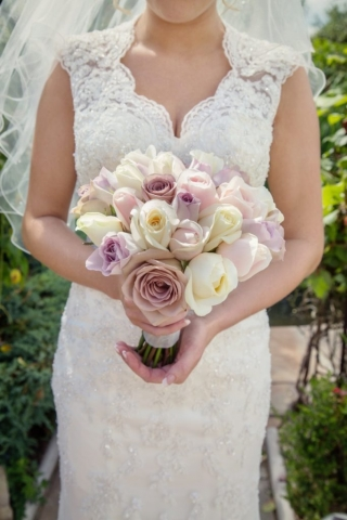 blush pink roses ivory roses hand tied  head to head