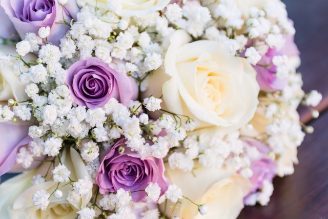 lilac rose gypsophlia ivory roses hand tied flair bridal florist studley
