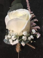 vintage style buttonhole ivory rose astilbe string bound