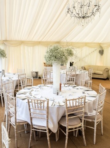 tall vases with gypsophila marquee weddings redditch florist Gypsophila theme wedding with tall table arrangement