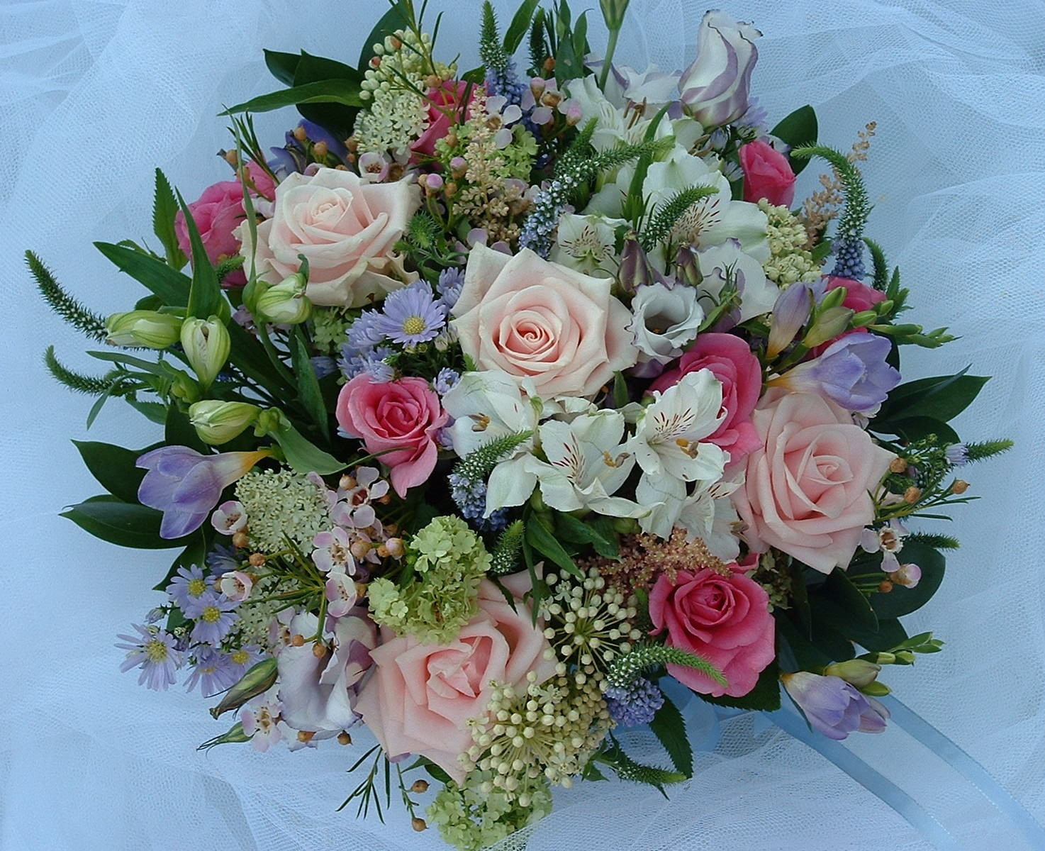 cottage garden bridal bouquet alstroemeria lilac freesia veronica september wax flowers