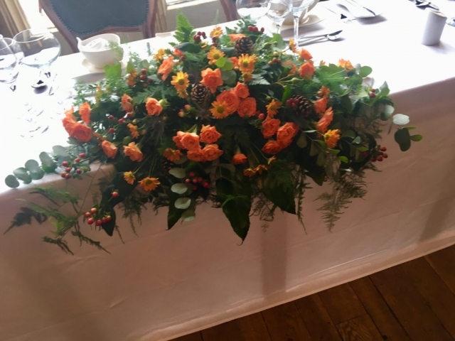 Top table arrangement autumn flowers