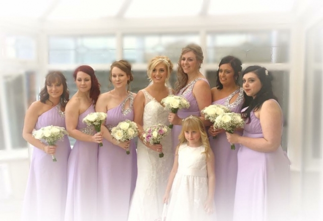 bridal bouquet and bridesmaids flowers