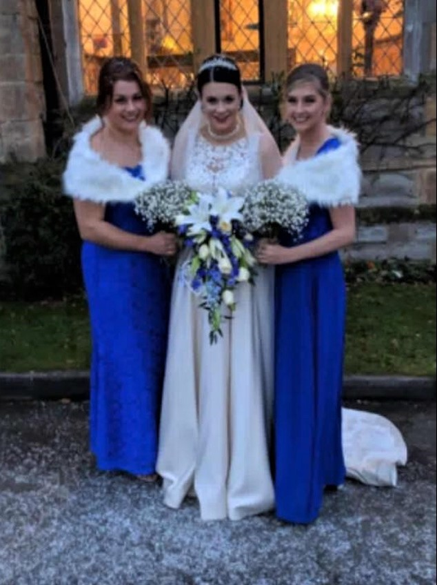 Bridal party blue theme wedding redditch florist