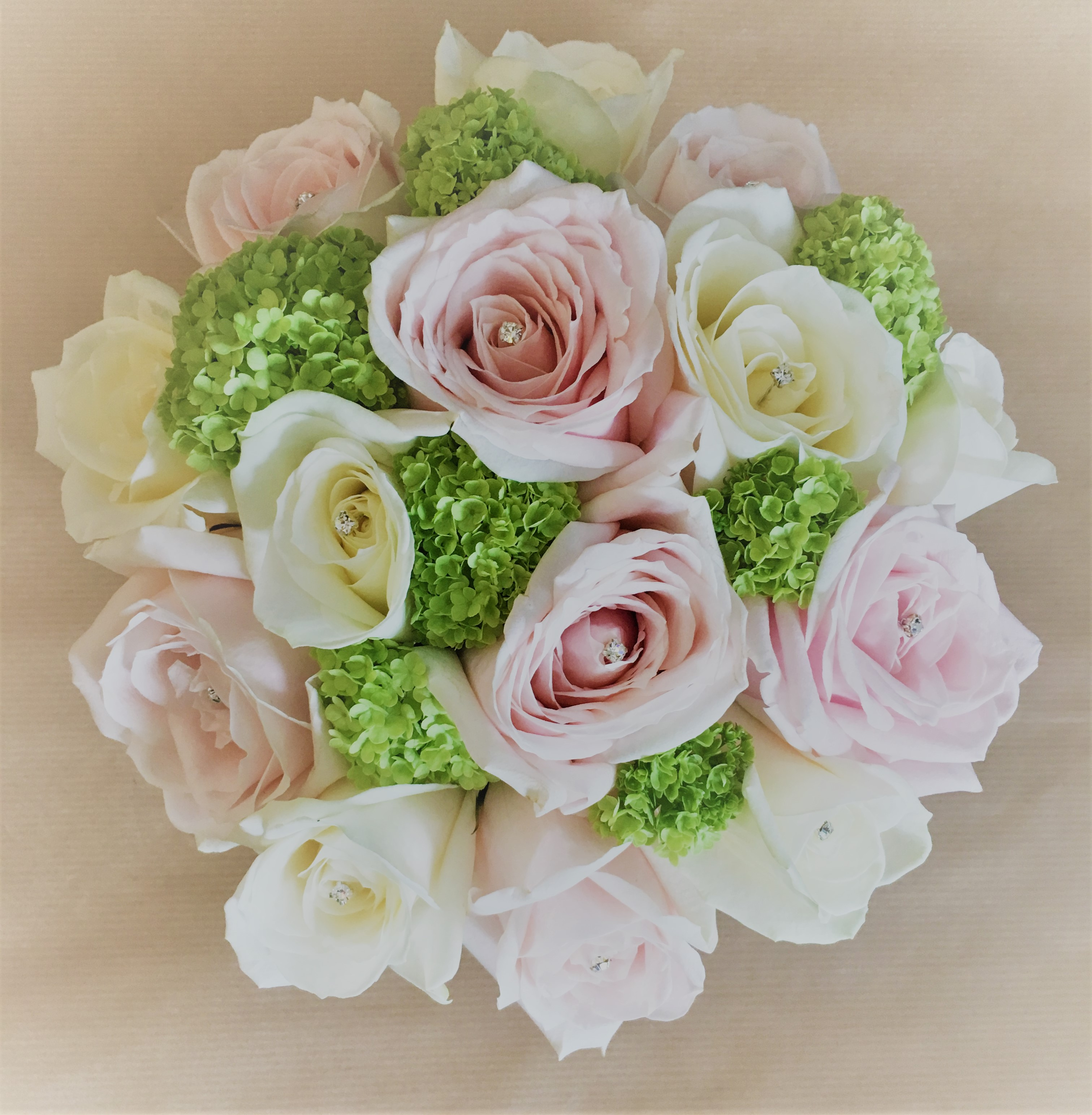 pastel pink and ivory roses with lime green wedding flowers