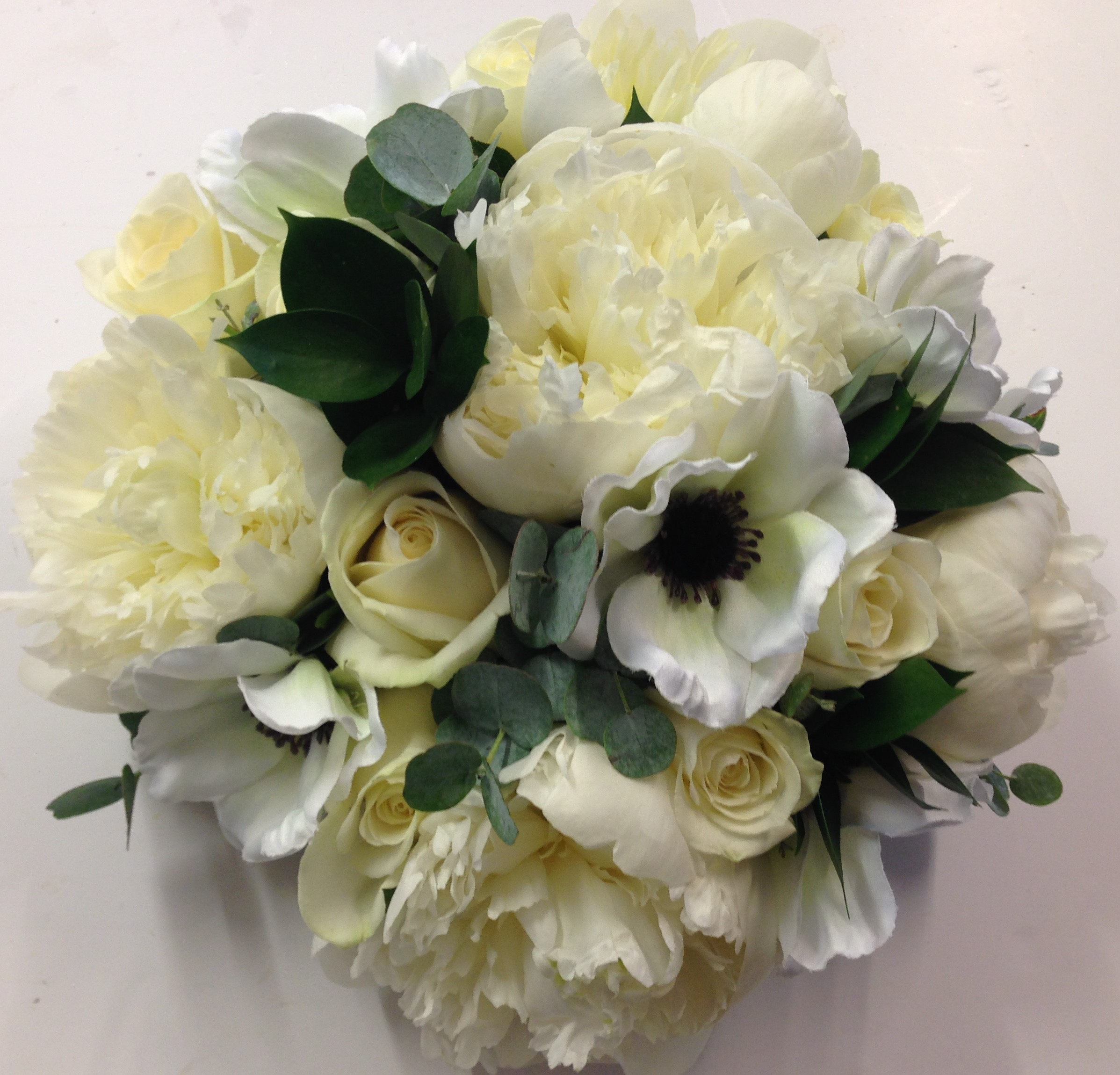 peonies and anemones with white roses and foliage hand tied wedding flowers flair with flowers studley