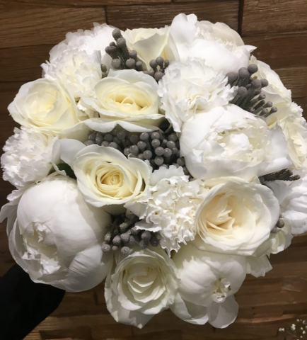 peonies  with white roses and grey berries