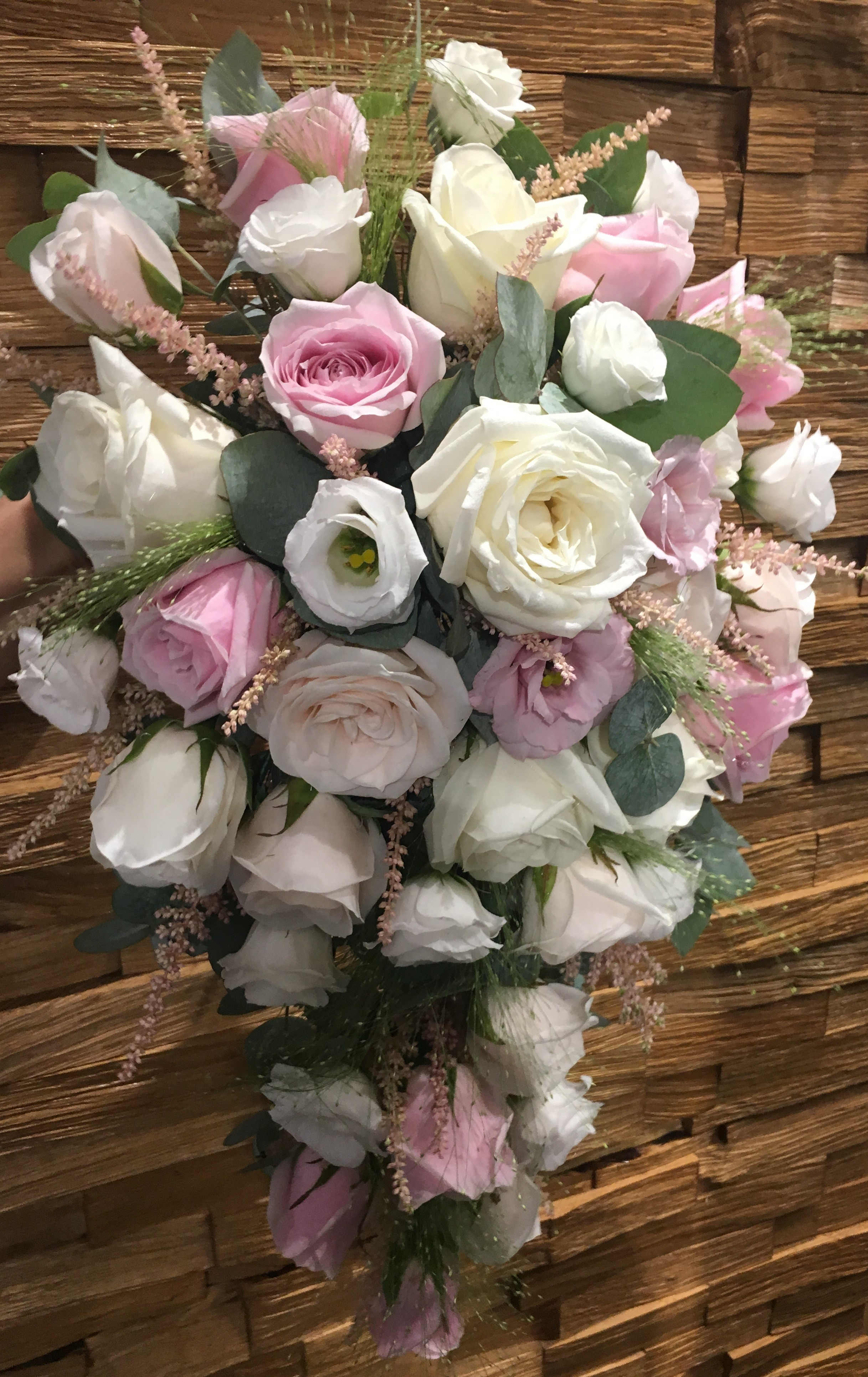 ivory roses pastel pink roses astilbe  shower bouquet flair with flowers florist in studley