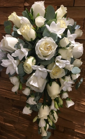 cascading freesia & rose shower bouquet