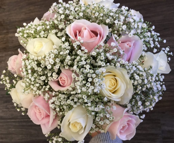 bridal bouquet hand tied touches of gypsophila and roses