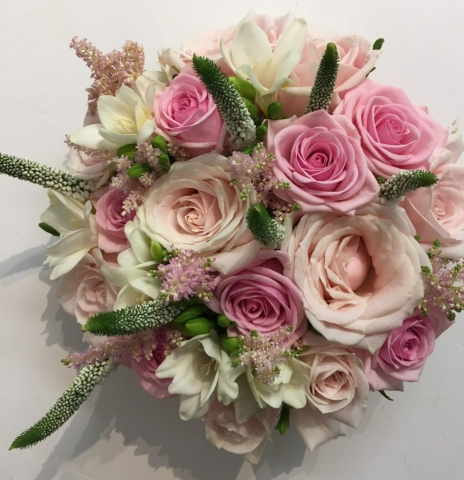 bridal bouquet of roses and ivory freesia veronica & astilbe wedding flowers in redditch