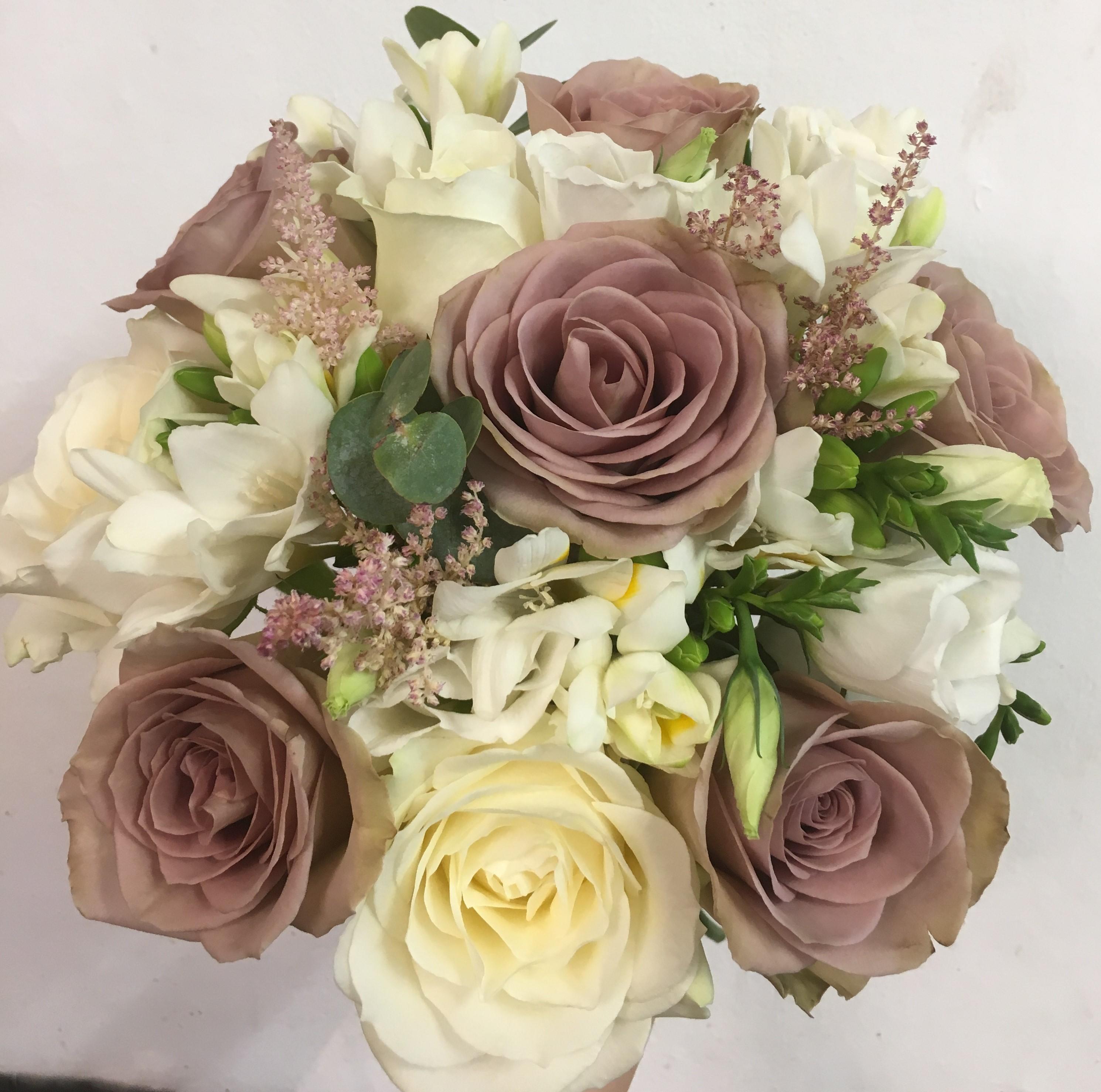 ivory roses lisianthus astilbe  chocolate roses