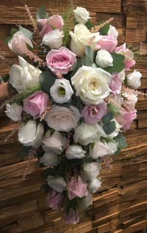 Ivory rose pink rose astilbe  shower bouquet
