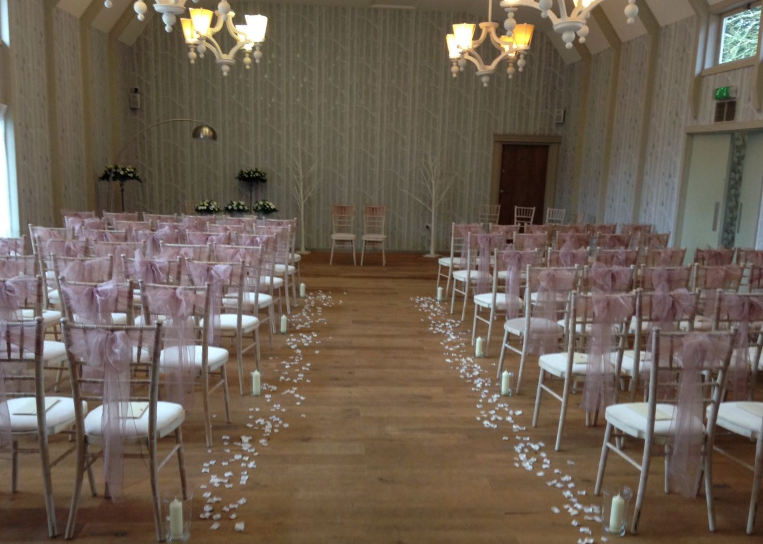 Petals & candles down aisle hampton manor