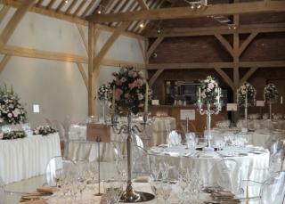 flowered  candelabra room set up red house barn