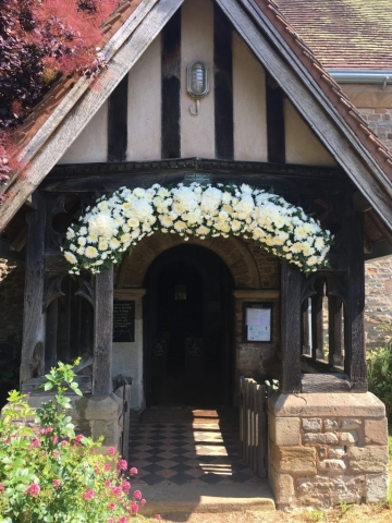 white rose chrysanthemum arch way entrance Church Arch