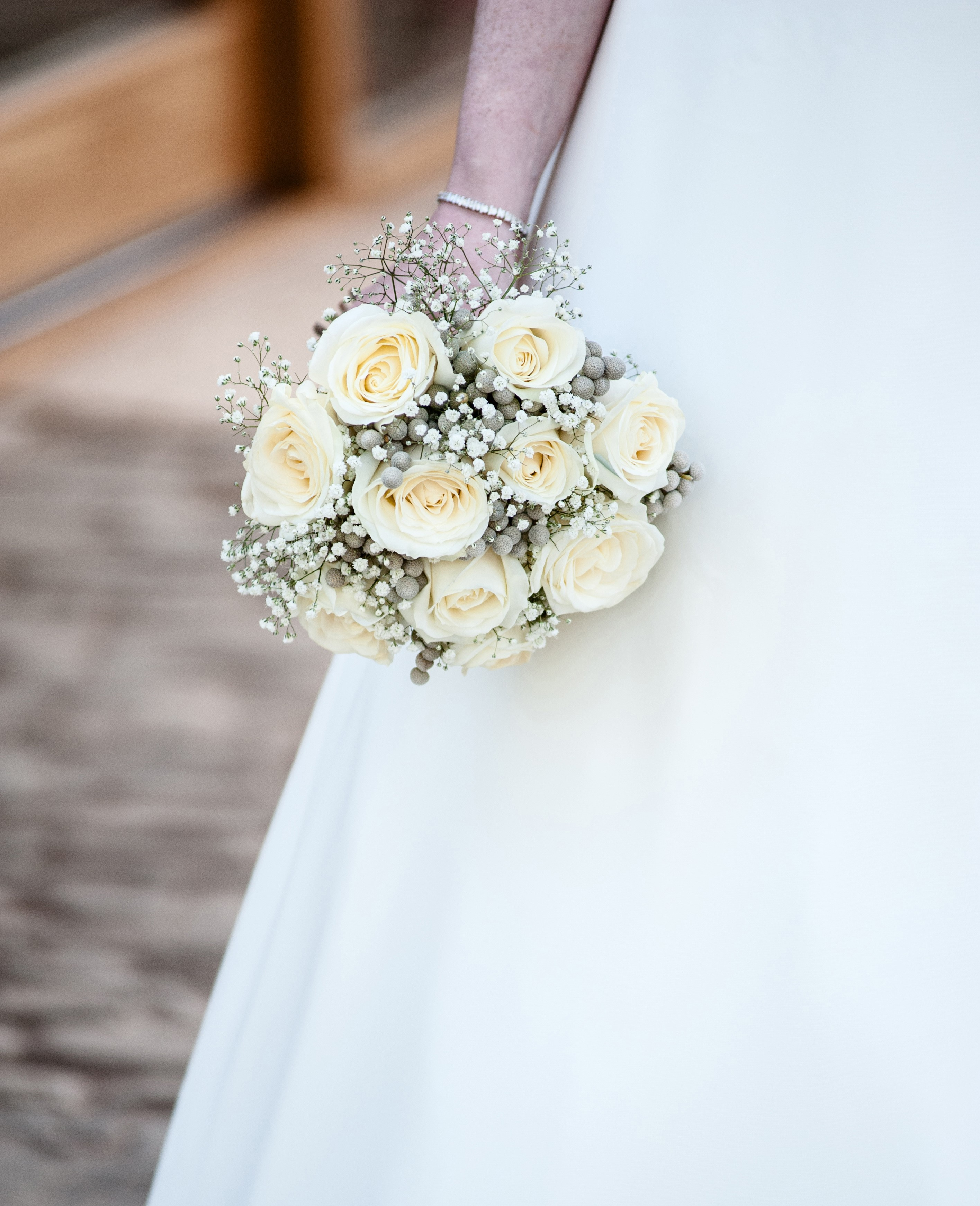 grey berries ivory roses soft feel with gypsophila