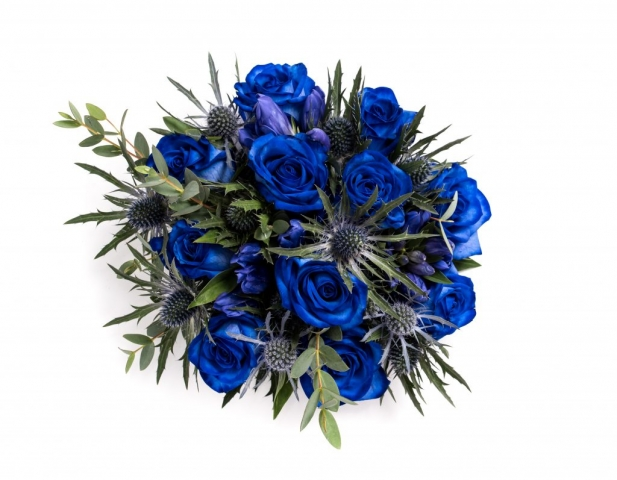 soft foliages with blue roses bridal flowers studley redditch alcester