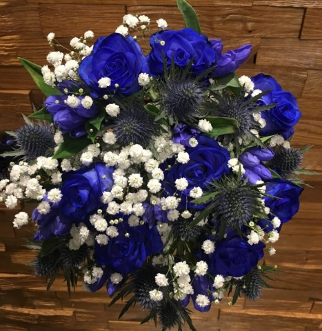blue rose thistle gentini hand tied