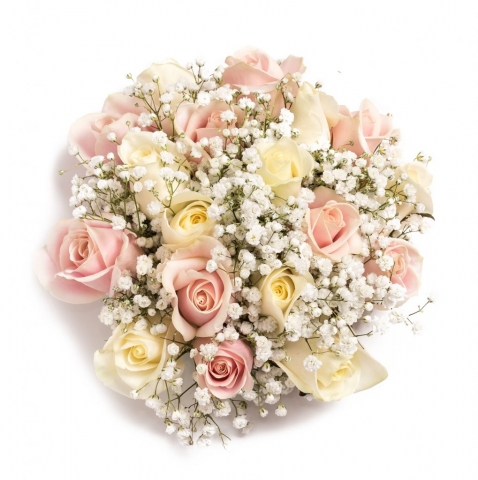pastel flowers in bouquet white roses and pale pink hand tied bouquet