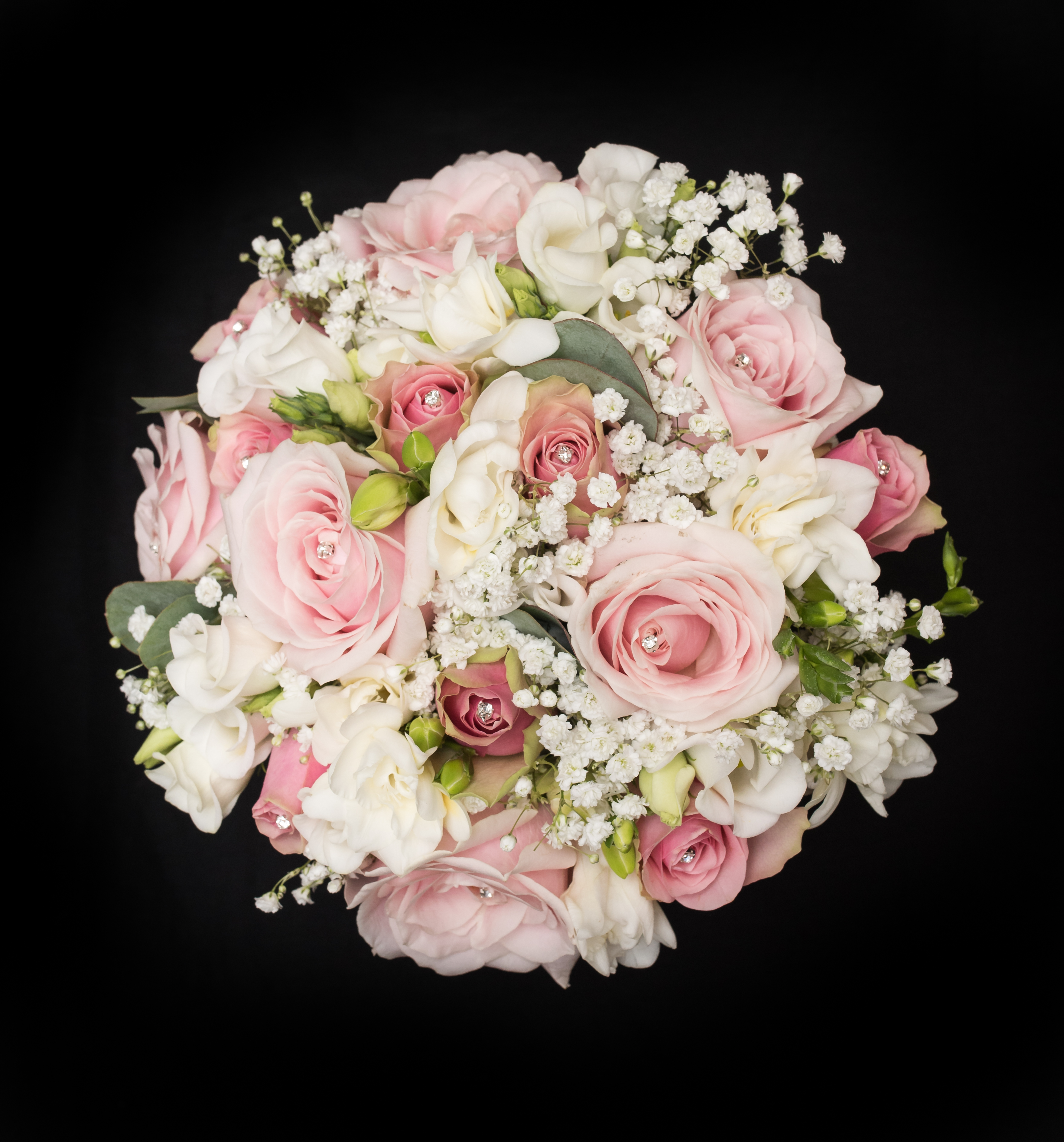 pastel pinks &  whites hand tied bridal flowers
