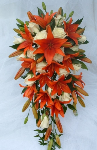 Orange lily shower bouquet