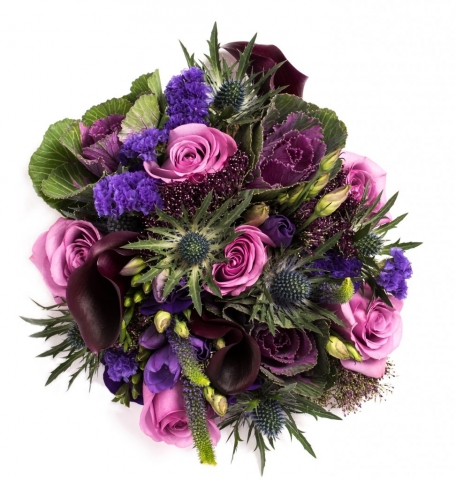hand tied of roses thistle and lisianthus  freesia and veronica  plum calla and cabbages