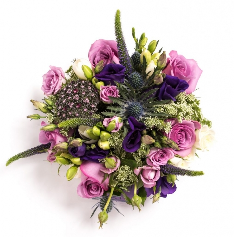 pinks blue PUrple broach bouquet