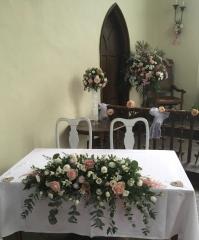 sweet avalanche rose altar arrangement pedestal pink flowers church dressings