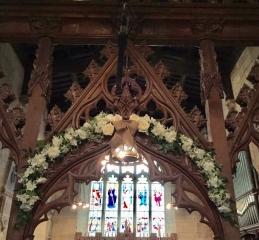 alter archway  rustic wedding Wroxhall Abbey flower arch