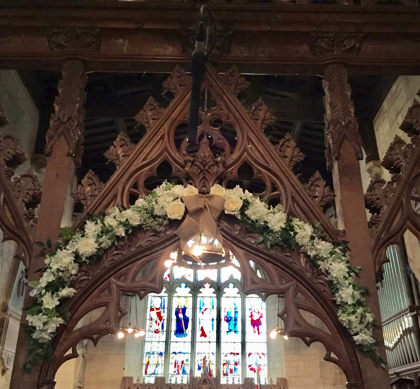 alter archway  rustic wedding Wroxhall Abbey flower arch