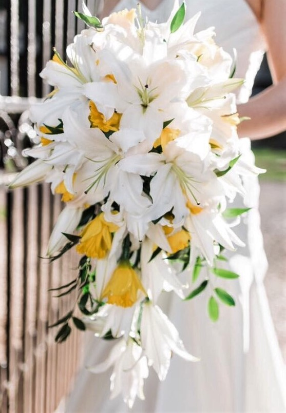 wedding bouquet cascading lilies and daffodils