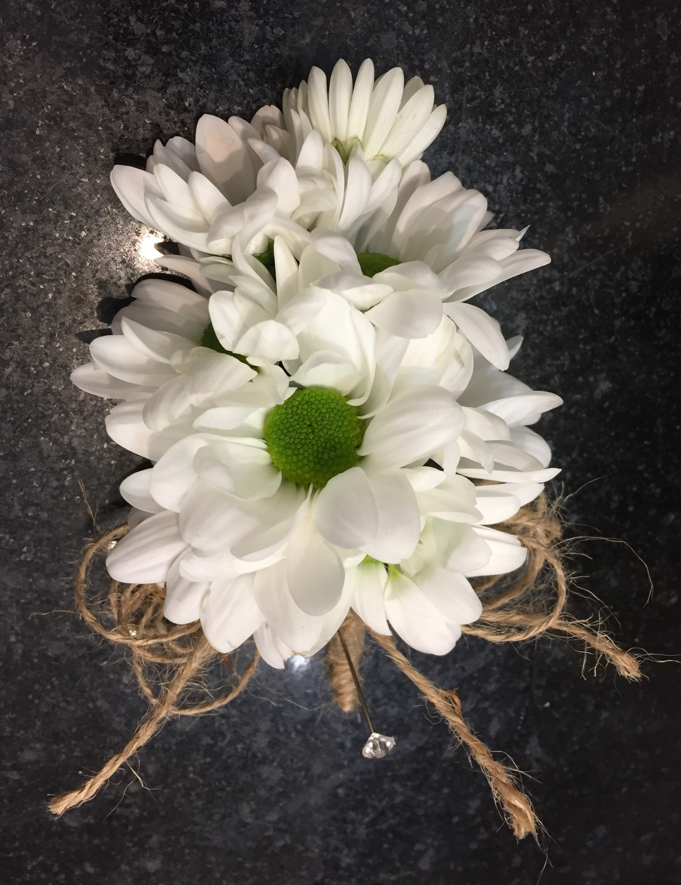 white daisy string bound buttonhole ladies or mens