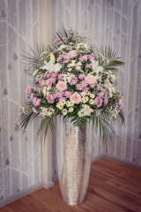 entrance flowers Pink white pedestal flowers hampton manor bling wedding