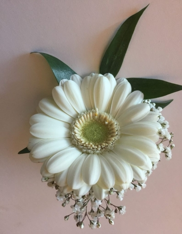 mens or ladies buttonhole white flowers