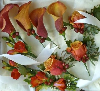 grooms buttonhole mens buttonhole orange rose calla lilly
