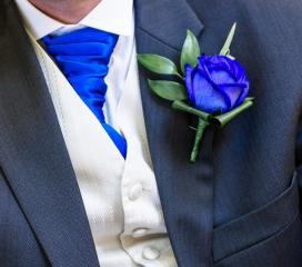blue cravat blue rose mens buttonhole