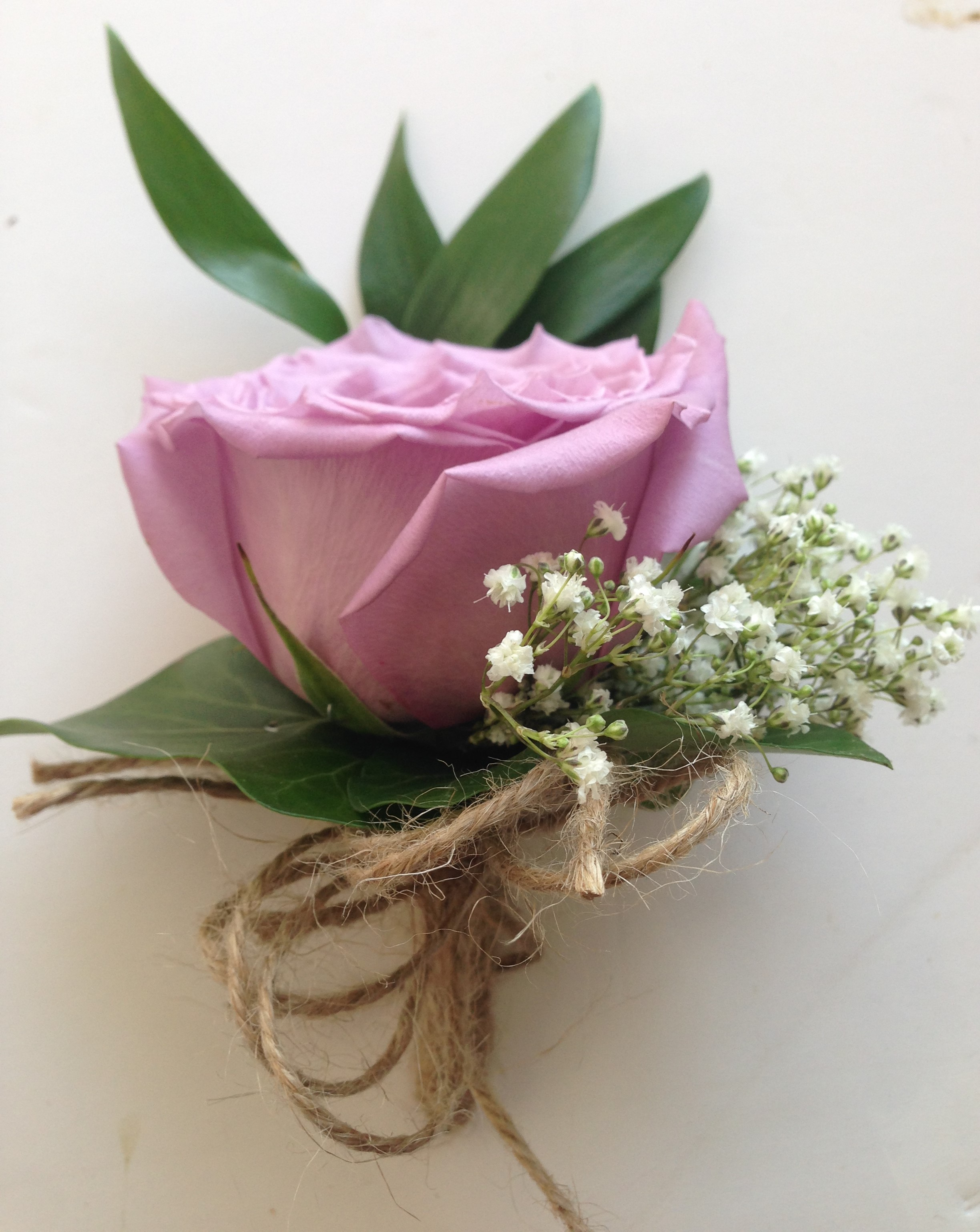 Grooms lilac buttonhole vintage style string bound Lilac rose gyp