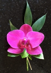 exotic flower in pink buttonhole