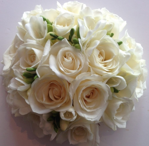 ivory roses and freesia scented flower bouquet