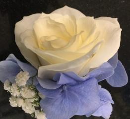 blue hydrangea buttonhole groomsmen