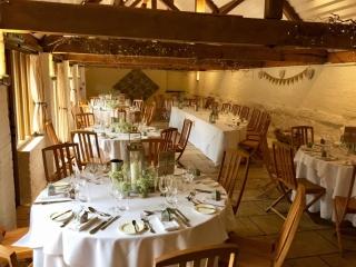 lantern & Gyp table decorations barn