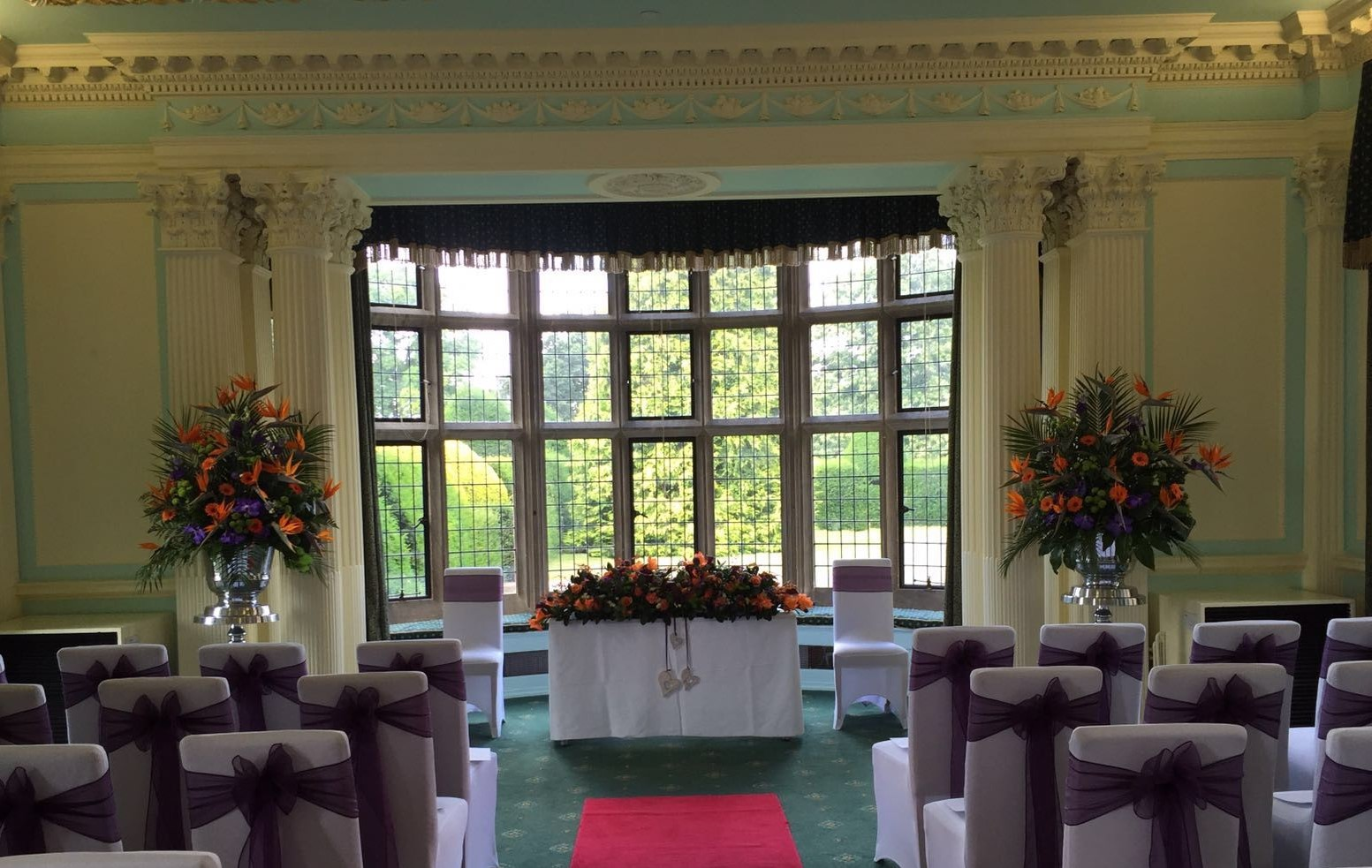 tropical orange & purple civil  pedestals