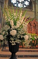 white hydrangeas white gladioli gypsophila stunning arrangements