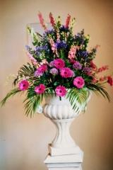 Pedestal spring flowers at Hyde barn