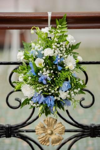 hydrangea  & white flower pew ends
