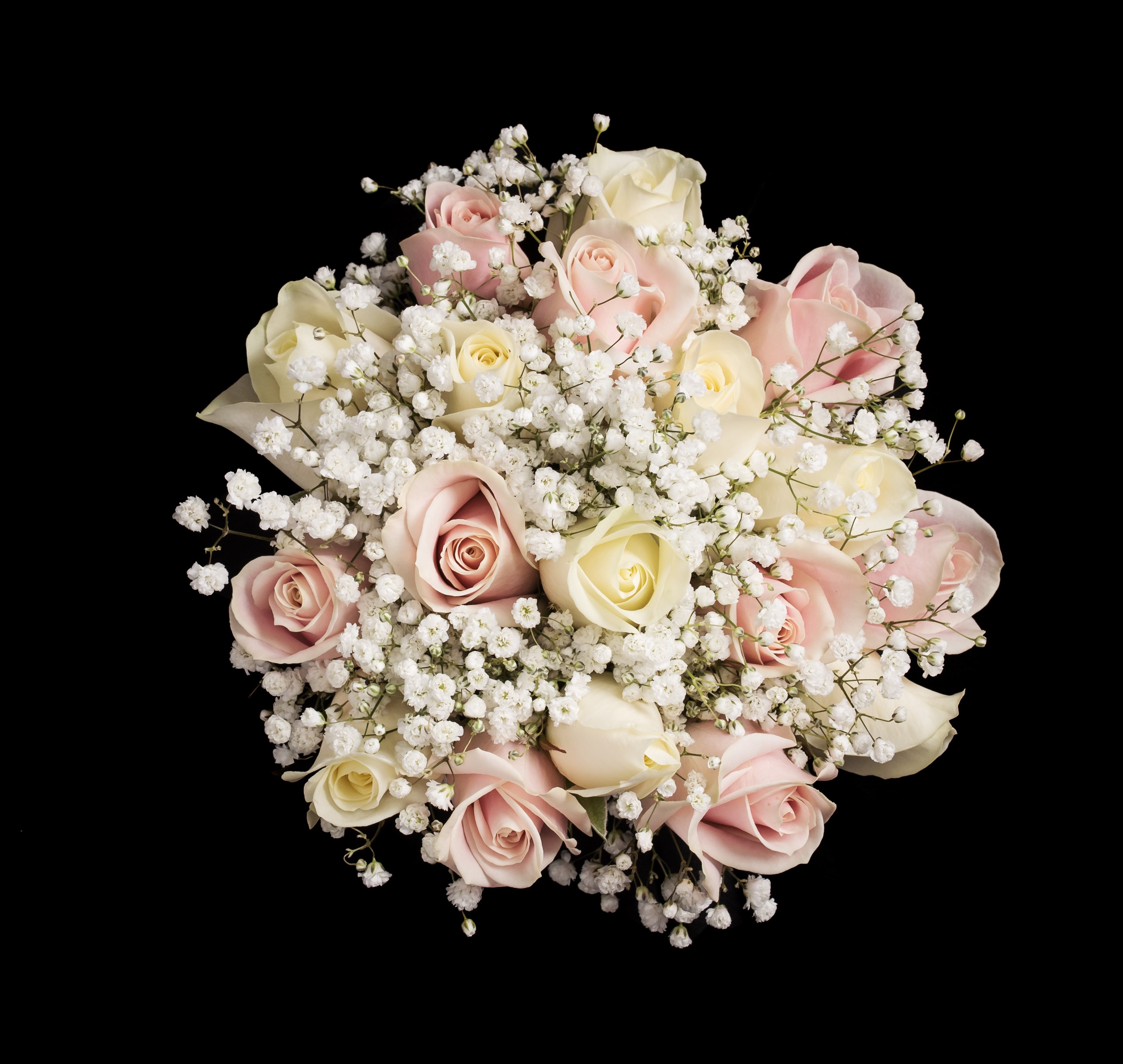 pink & ivory roses with gypsophila Gorcott Hall