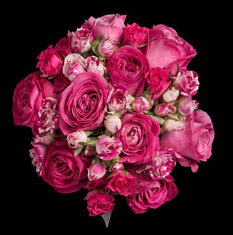 wedding flowers for bride in a hand tied style just hot pink roses