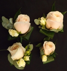 four blush pink roses wedding party
