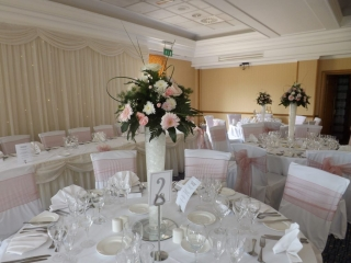 Pink & white reception flowers chair covers Ardencote Manor
